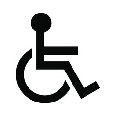 Disabled sign wheelchair vector icon isolated on white background.