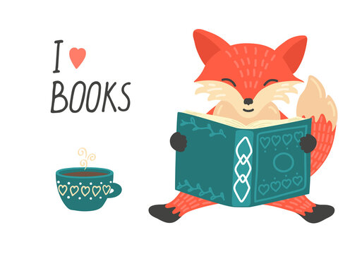 I love book. Cute little fox reading book and drinking tea.  Illustration with hand writing text.