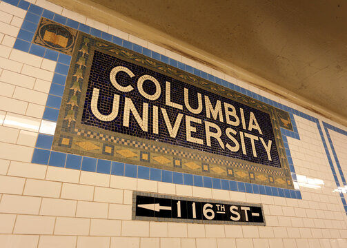 New York, NY, USA - July 16, 2017: A sign at the subway stop for Columbia University in New York City. Columbia University is a private Ivy League research university.