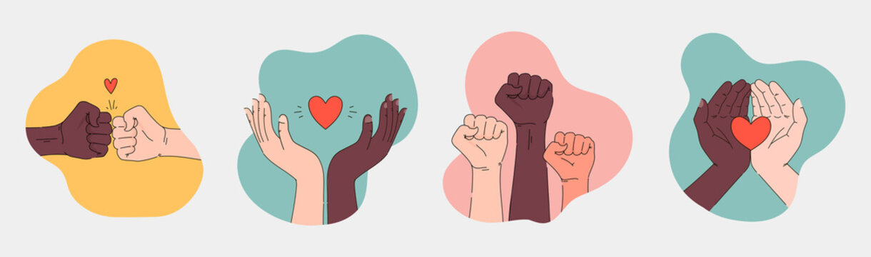 Black lives matter hand drawn poster, card collection. Hashtag blm stylised set. Black and white hands together concept. Campaign against racial discrimination of dark skin color. Vector Illustration.