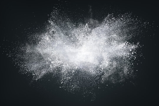Abstract design of white powder cloud on dark background