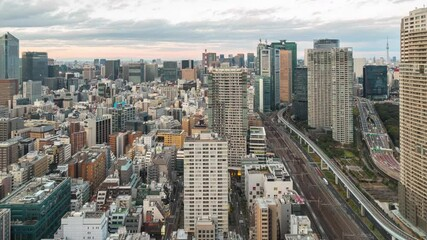 Wall Mural - Tokyo city skyline day to night time lapse