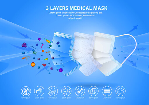 set of three layer surgical mask or fluid resistant medical face mask material or air flow illustration protection medical mask concept. eps 10 vector, easy to modify