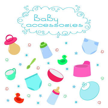 Accessories and supplies for newborn care.