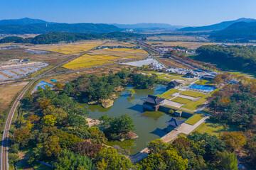 Wall Murals Deep brown Aerial view of Anapji pond in Gyeongju, Republic of Korea