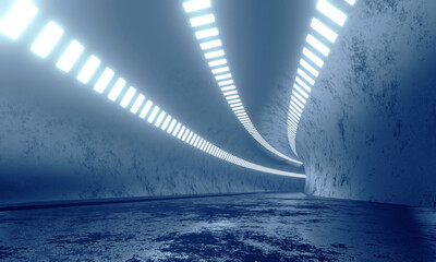 Wall Mural - 3D Rendering of tunnel in blue color tone with brightness from led lights. Concept for fast business technology, car advertising background