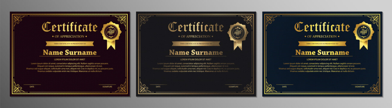 Certificate of appreciation template with vintage gold border - Vector
