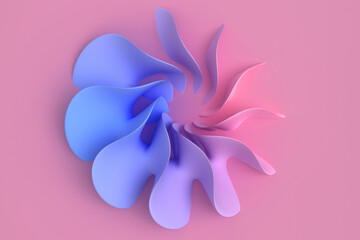 Pink and blue coral pastel light delicate abstract 3D background of a wave curving intertwining and writhing surface. 3D illustration with copy space