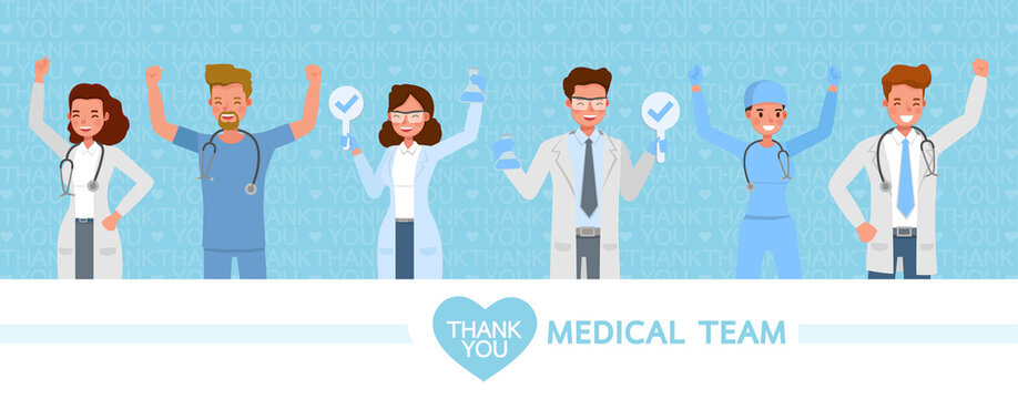 Set of doctor wear medical mask. Thank you medical team. Coronavirus quarantine concept character vector design. no3