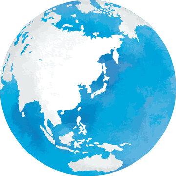 アジアが中心にある丸い地球の地図の水彩風ベクターイラスト