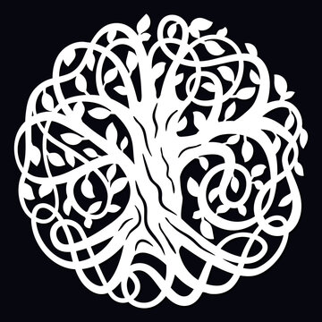 Laser cutting template. Decorative celtic tree of life. Paper cutout design. Vector silhouette. Wood or metal cutting. Family tree. Stamp. Die cut decoration.
