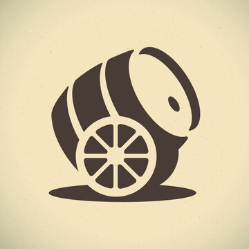 A barrel of beer. Beer restaurant or craft bar logo concept
