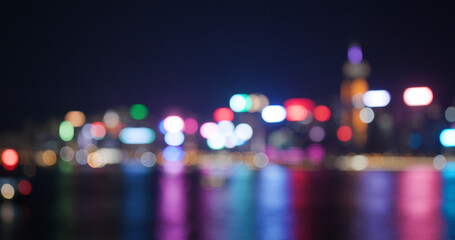Wall Mural - Blur of city night view