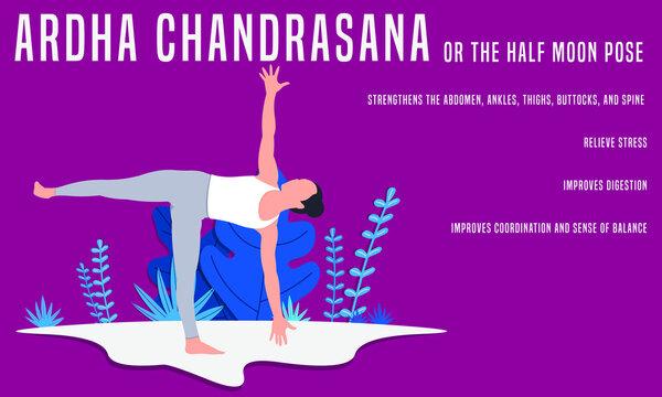 Ardha Chandrasana or the half moon pose. Yoga Fitness Concept. Illustration Of Woman doing yoga.