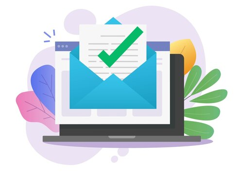 Approved email message notice check mark in document online on laptop computer or digital mail letter success confirmed application vector flat, concept of subscription newsletter or verified doc