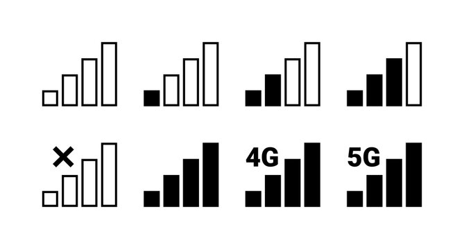 Signal strength indicator set, mobile phone bar status icon. No signal symbol, 4g and 5g network connection level sign isolated on white. Vector illustration for web, app, design interface