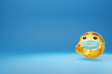 Glass Care Emoji ,Yellow Ball Character with Medical Mask,Social Media face emoticon isolate on blue background.Copy Space for insert content, 3d Render.