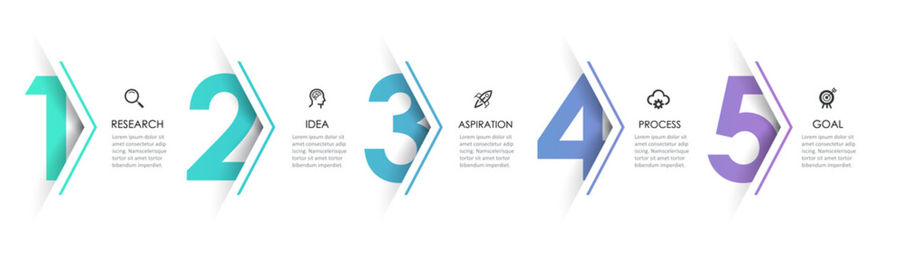 Vector Infographic arrow design with 5 options or steps. Infographics for business concept. Can be used for presentations banner, workflow layout, process diagram, flow chart, info graph