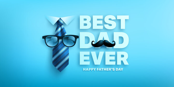 Happy Father's Day poster or banner template with king necktie and glasses.Greetings and presents for Father's Day.Vector illustration EPS10