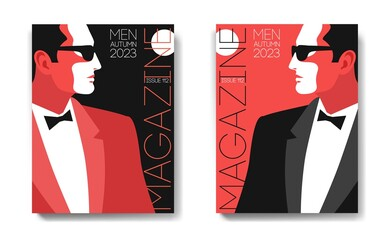 Two variants of fashion magazine cover design. Male portraits, side view. Man in tuxedo, bow tie and sunglasses. Design in white, black and red colors