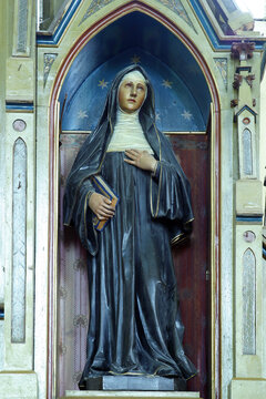 St. Margaret Mary Alacoque statue at the altar of the Sacred Heart of Jesus at St. Roch Church in Luka, Croatia