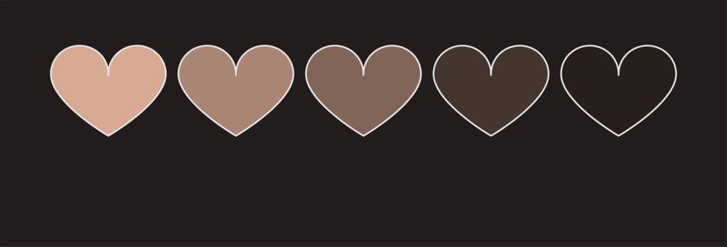 Black lives matters. Symbol of love. Different skin color