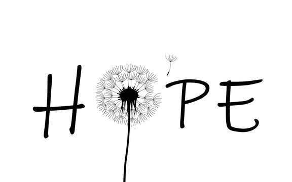 hope typography with dandelion on white background vector illustration EPS10