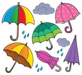 Tuinposter Voor kinderen Umbrella theme set 1