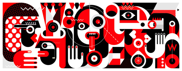 Photo Blinds Abstract Art Red, black and white vector illustration of Group of Different People and A Bottle of Wine.