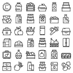 Food storage icons set. Outline set of food storage vector icons for web design isolated on white background