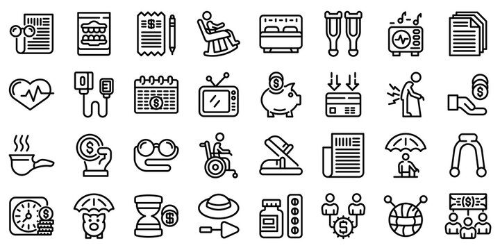 Retirement icons set. Outline set of retirement vector icons for web design isolated on white background