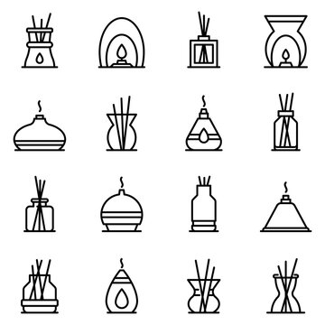 Diffuser icons set. Outline set of diffuser vector icons for web design isolated on white background