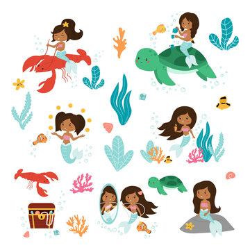 Vector set of little mermaid, fish, seaweeds and coral reef. Kawaii cartoon African American mermaids.