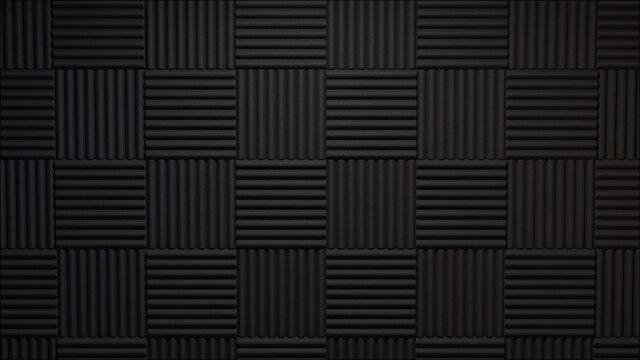 3d rendered dark acoustic panels background