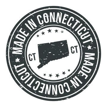Connecticut State USA Quality Original Stamp Design Vector Art Tourism Souvenir Round