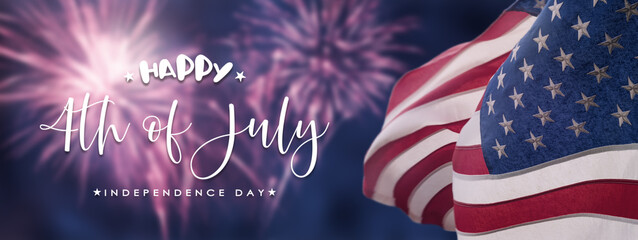 American National Holiday. US Flags with American stars, stripes and national colors. Independence Day. 4th July.