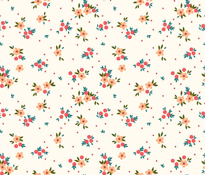 Floral pattern. Pretty flowers on white background. Printing with small light orange flowers. Ditsy print. Seamless vector texture. Spring bouquet.