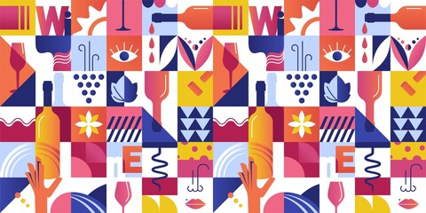 Obraz Abstract Seamless Pattern with Geometric Shapes and Wine Tasting Concept Elements. Vector illustration - fototapety do salonu