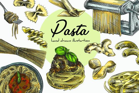 Colorful set of different kinds of pasta and spaghetti. Fettuccine, sedanini rigati, girandole, conchiglioni rigati, pipe rigatti, mezze penne rigate, farfalle, spaghetti rolled on a fork, spaghetti