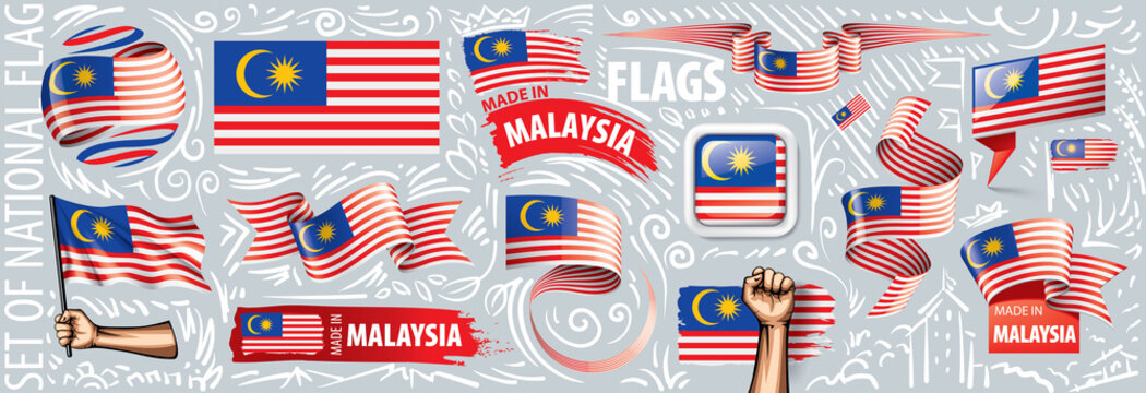 Vector set of the national flag of Malaysia in various creative designs