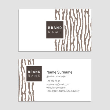 Vector business card with the wood texture. Used pattern based on organic stripes shape. Modern style for company identity.