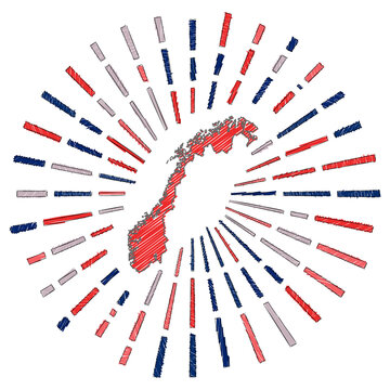 Sketch map of Norway. Sunburst around the country in flag colors. Hand drawn Norway shape with sun rays on white background. Vector illustration.