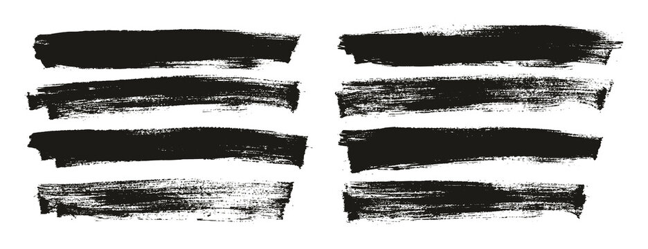 Flat Paint Brush Thin Long Background High Detail Abstract Vector Background Set