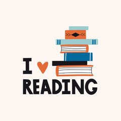 I love reading. Motivation card, print or poster