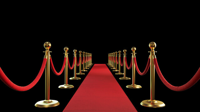 3d rendered red carpet with rope barrier