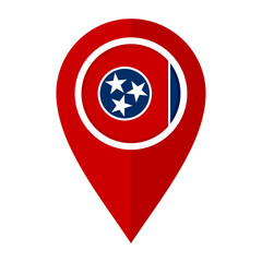 flat map marker icon with tennessee flag, isolated on white background