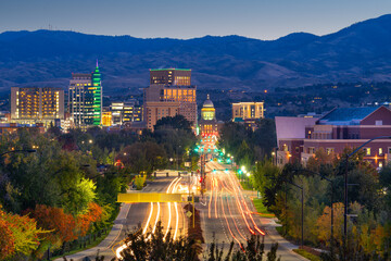 Fototapete - Boise, Idaho, USA downtown cityscape at twilight.