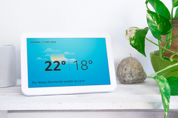 BARCELONA, MAY 11, 2020: white Amazon Alexa Echo Show 8 in a living room on May 11, 2020 in Barcelona