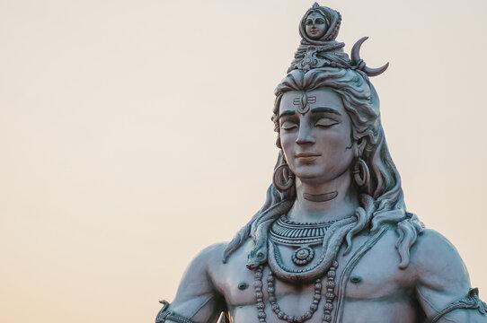 Close up of Shiva statue in Rishikesh, India