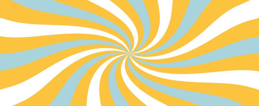retro starburst or sunburst background pattern with light blue orange and white in a spiral or swirled radial striped design